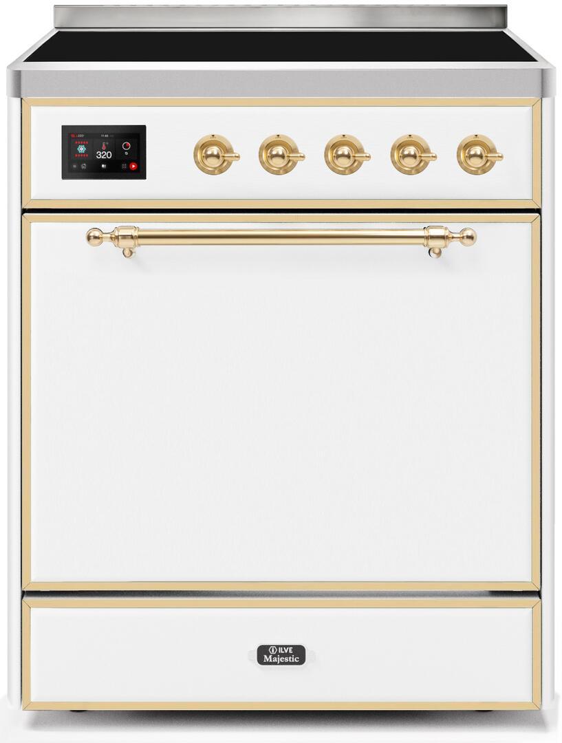 Ilve Majestic II UMI30QNE3WHG Freestanding Electric Range White, UMI30QNE3WHG-Front-CD-A