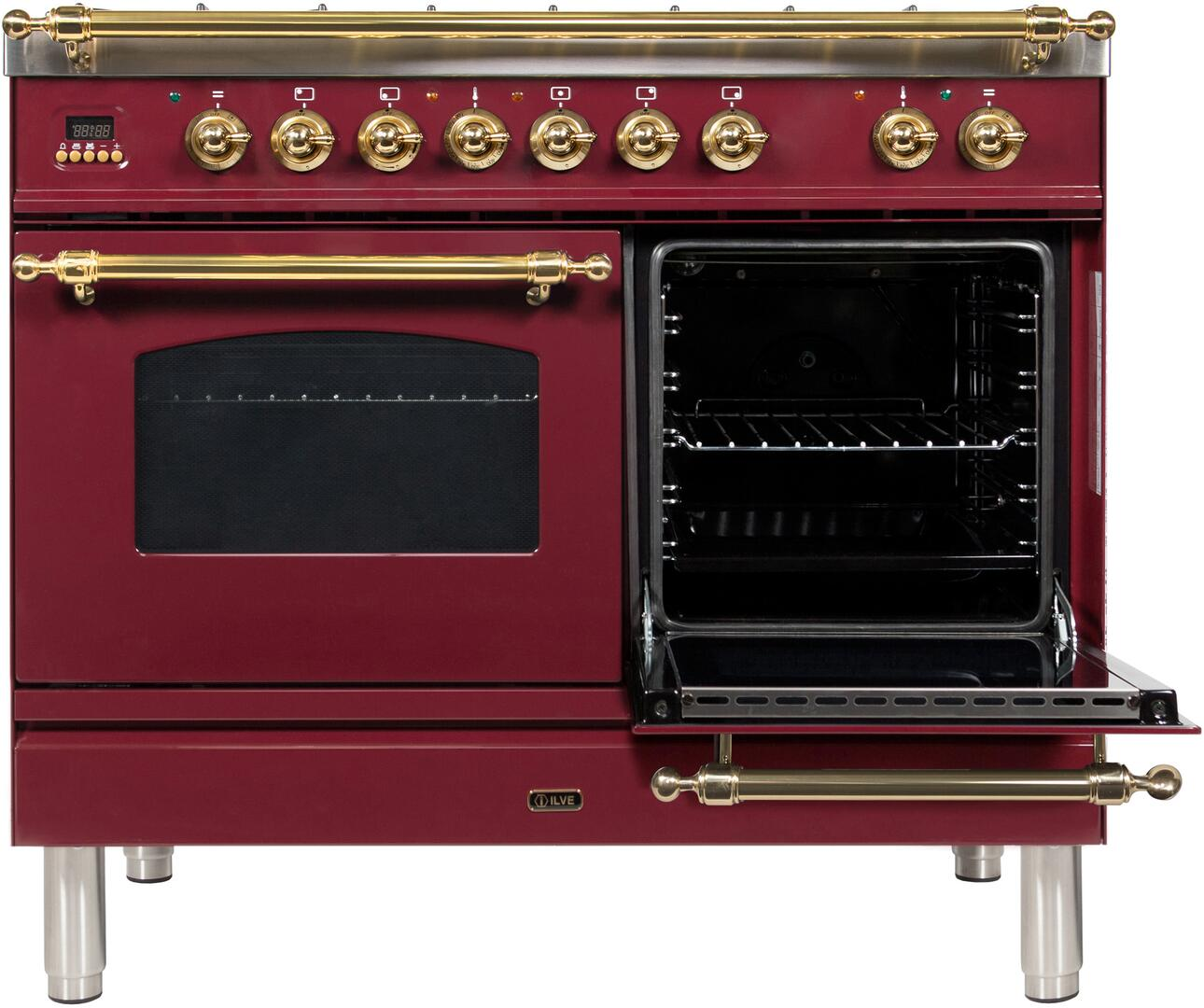 Ilve Nostalgie UPDN100FDMPRBLP Freestanding Dual Fuel Range Red, ilve  UPDN100FDMPRB  range opened right door