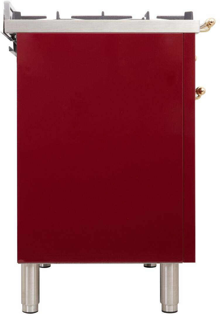 Ilve Nostalgie UPDN100FDMPRBLP Freestanding Dual Fuel Range Red, ILVE  UPDN100FDMPRB Range side right
