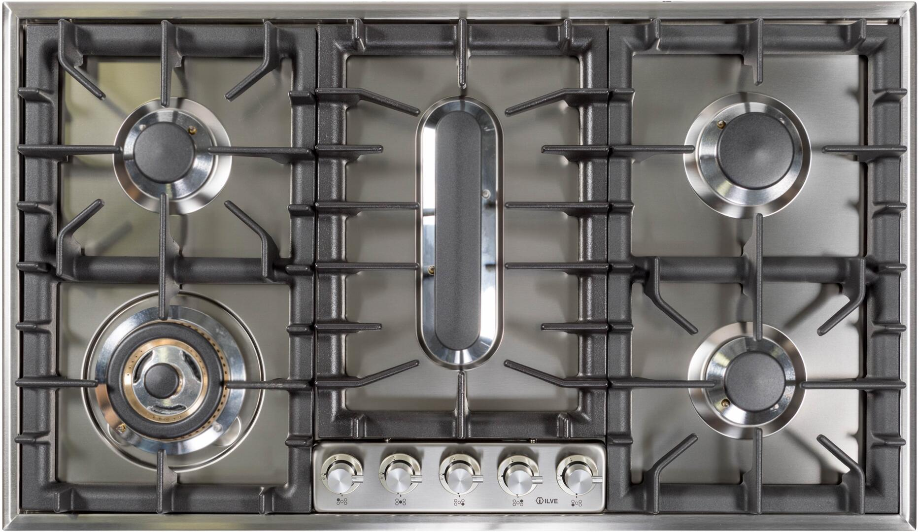 Ilve  UHP95FCI Gas Cooktop Stainless Steel, UHP95FCI Cooktop with Griddle Removed