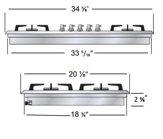 Ilve  UHP95FCI Gas Cooktop Stainless Steel, Dimension