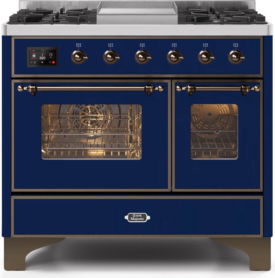 Ilve Majestic II UMD10FDNS3MBB Freestanding Dual Fuel Range Blue, UMD10FDNS3MBBNG-Front-CD-A