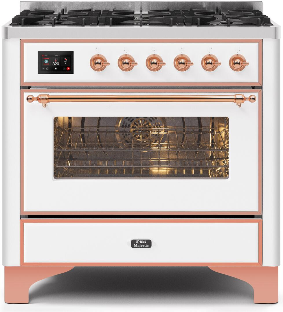 36 Inch White Dual Fuel Convection Freestanding Range