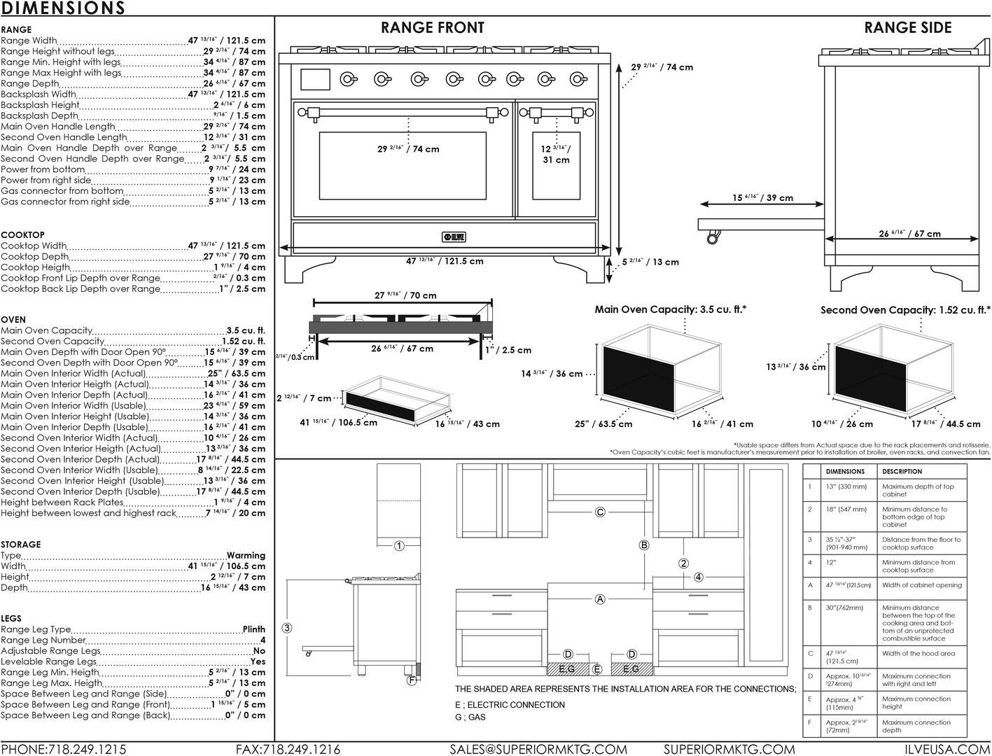 Ilve Majestic II UM12FDNS3AWP Freestanding Dual Fuel Range Bisque, UM12FD-Dimensions Guide