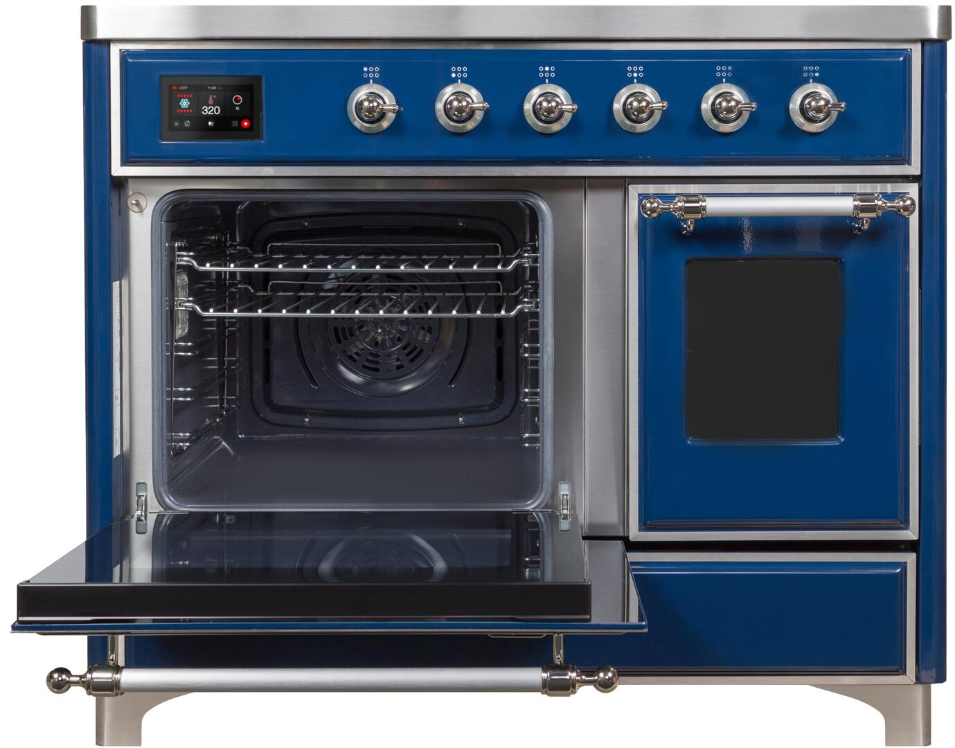 Ilve Majestic II UMDI10NS3MBC Freestanding Electric Range Blue, UMDI10NS3MBC- Front-ODL