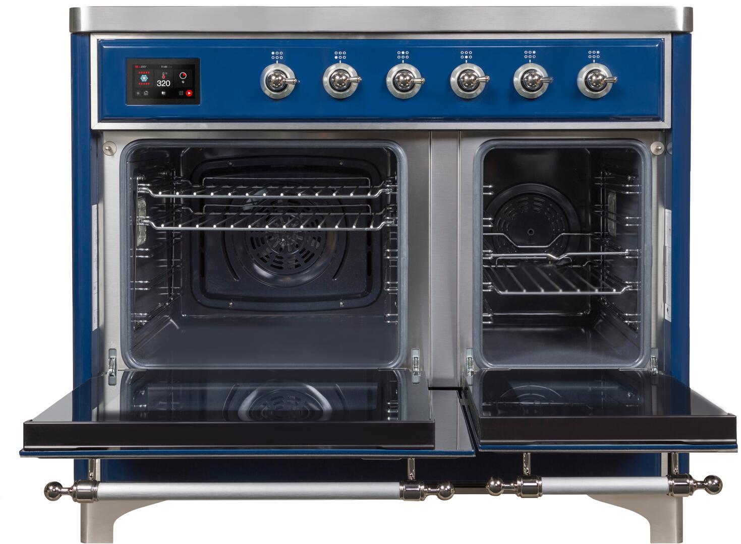 Ilve Majestic II UMDI10NS3MBC Freestanding Electric Range Blue, UMDI10NS3MBC-Front-OD