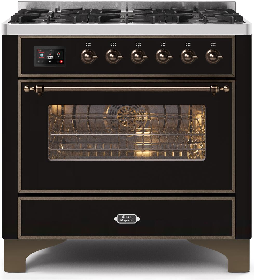 36 Inch Glossy Black Dual Fuel Convection Freestanding Range