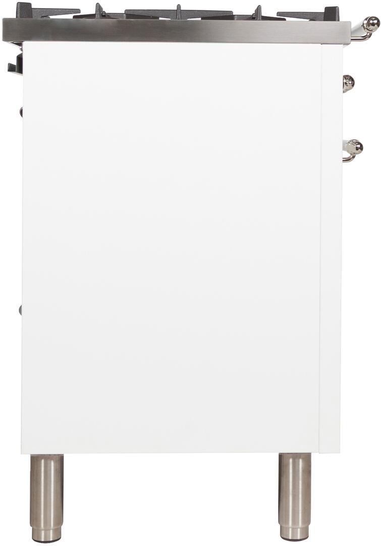 Ilve Nostalgie UPN120FDMPBXLP Freestanding Dual Fuel Range White, UPN120FDMPBXLP Side View