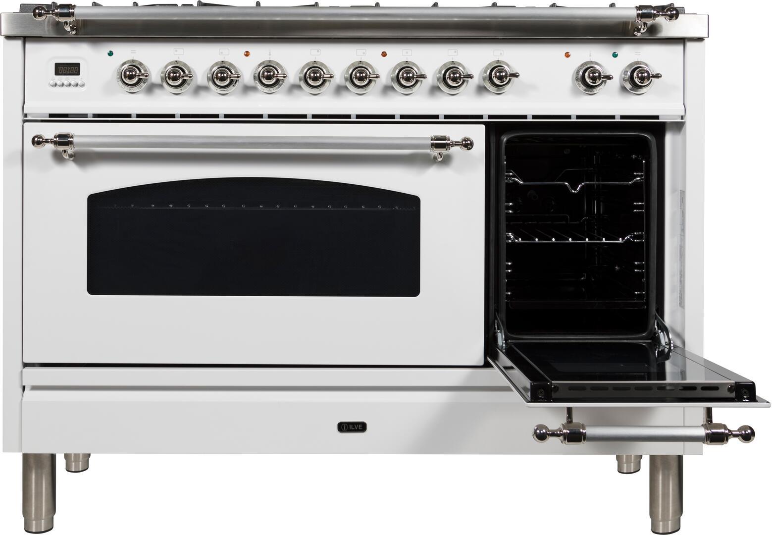 Ilve Nostalgie UPN120FDMPBXLP Freestanding Dual Fuel Range White, ILVE UPN120FDMP Range Door2 Open