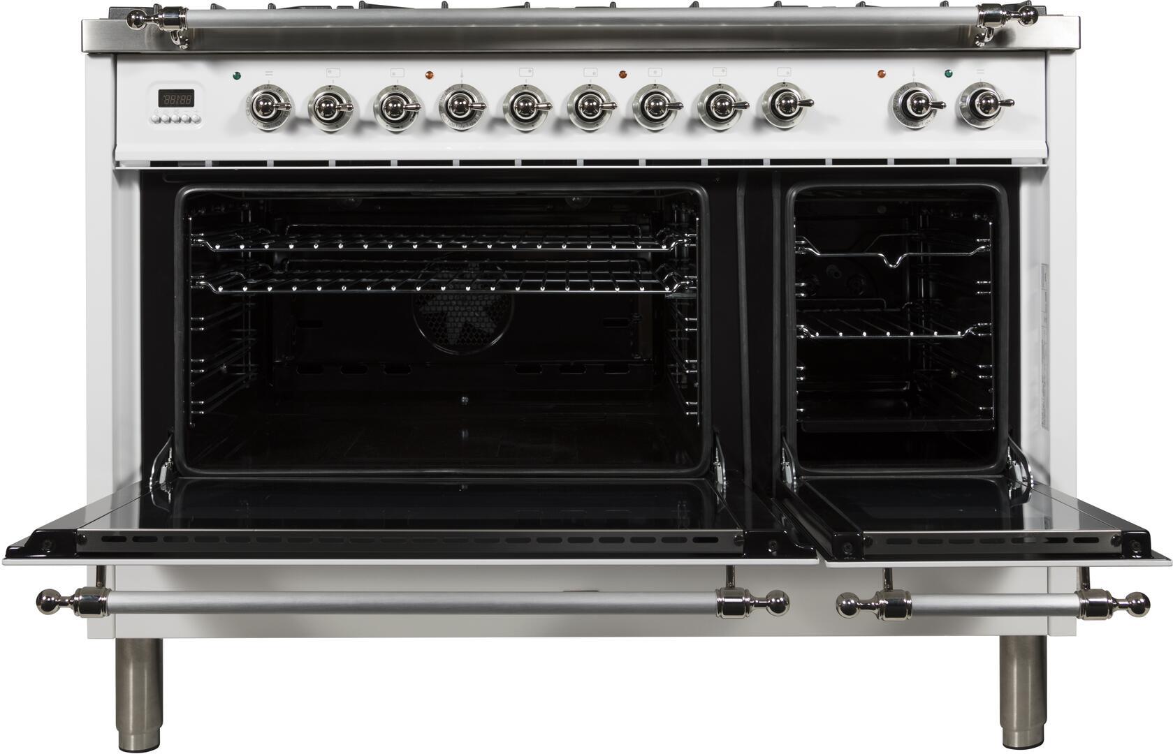 Ilve Nostalgie UPN120FDMPBXLP Freestanding Dual Fuel Range White, ILVE UPN120FDMP Range Open Doors