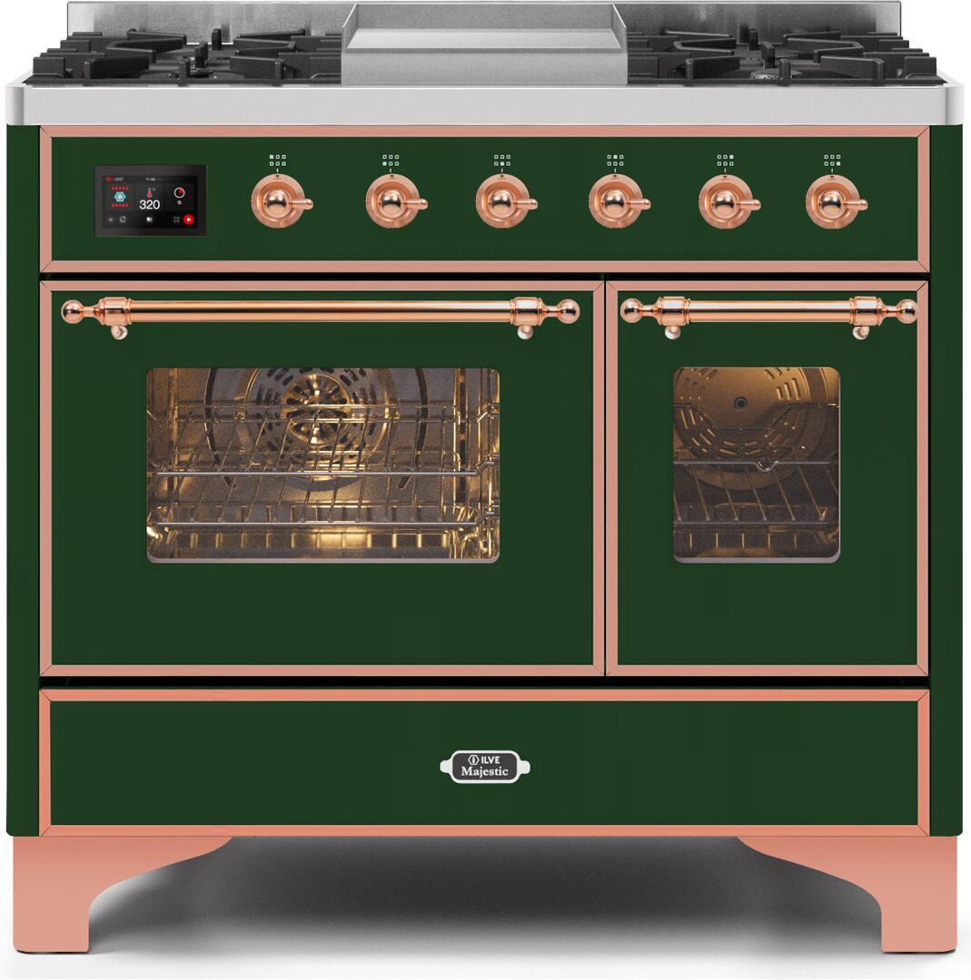 Ilve Majestic II UMD10FDNS3EGP Freestanding Dual Fuel Range Green, UMD10FDNS3EGPNG-Front-CD-A