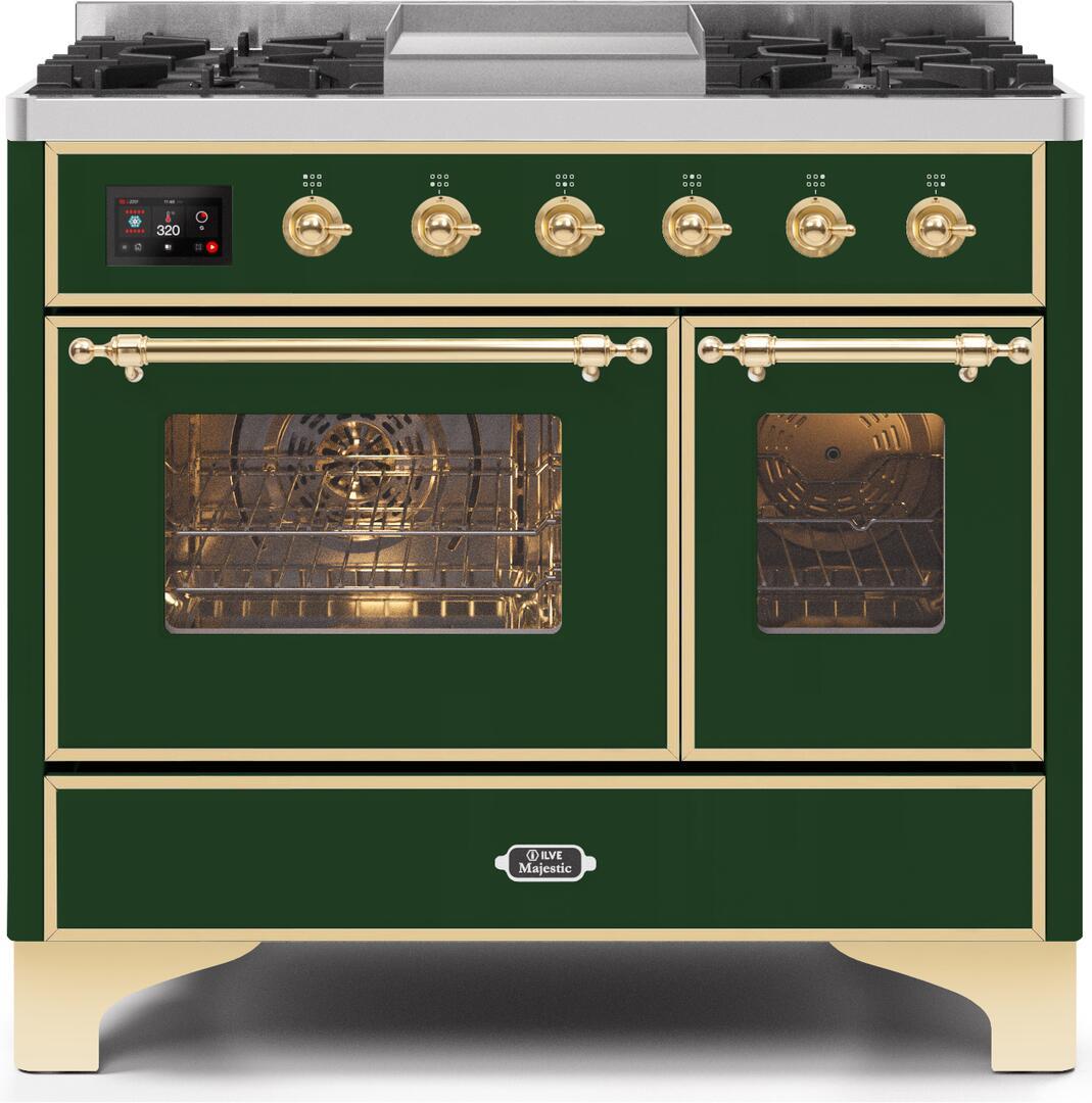 Ilve Majestic II UMD10FDNS3EGG Freestanding Dual Fuel Range Green, UMD10FDNS3EGGNG-Front-CD-A