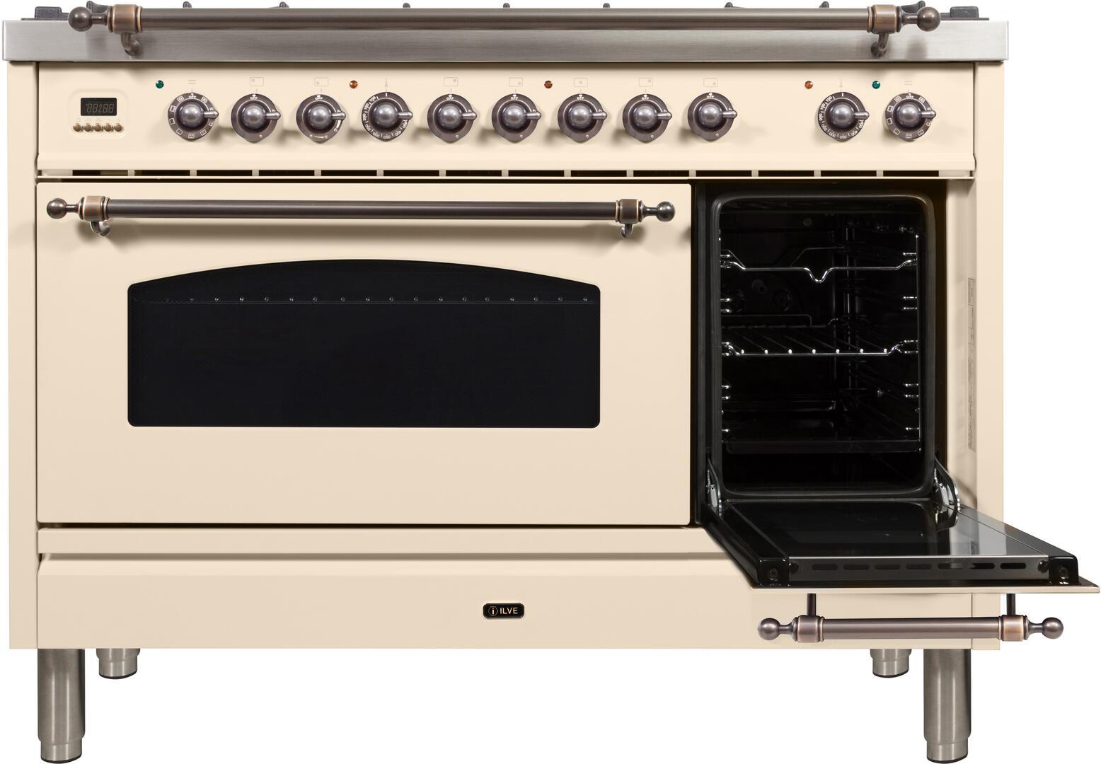 Ilve Nostalgie UPN120FDMPAY Freestanding Dual Fuel Range Bisque, ilve UPN120FDMPAY range open door1