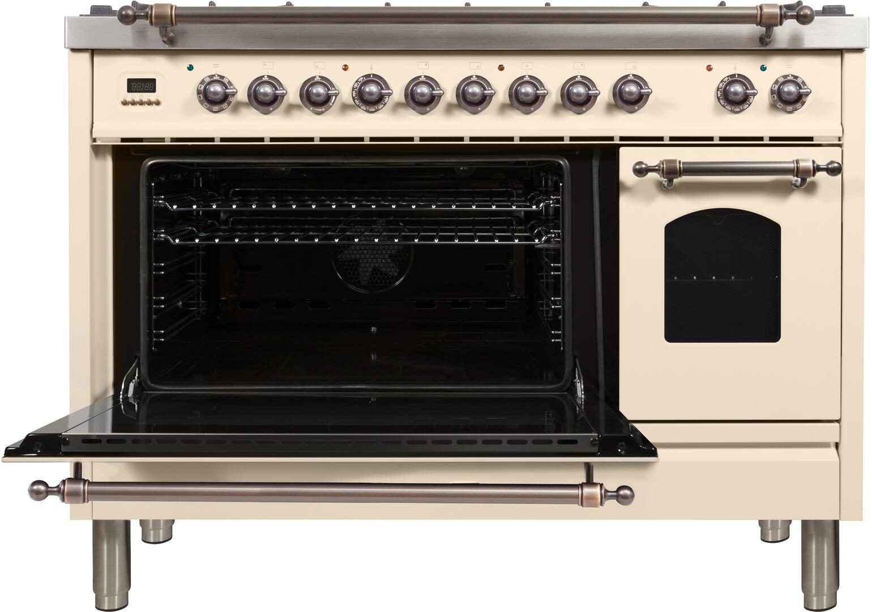 Ilve Nostalgie UPN120FDMPAY Freestanding Dual Fuel Range Bisque, ilve UPN120FDMPAY range open door2