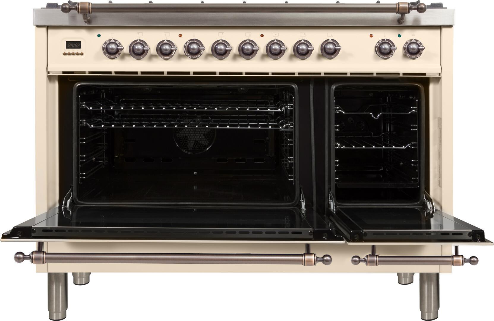 Ilve Nostalgie UPN120FDMPAY Freestanding Dual Fuel Range Bisque, ilve UPN120FDMPAY range open doors