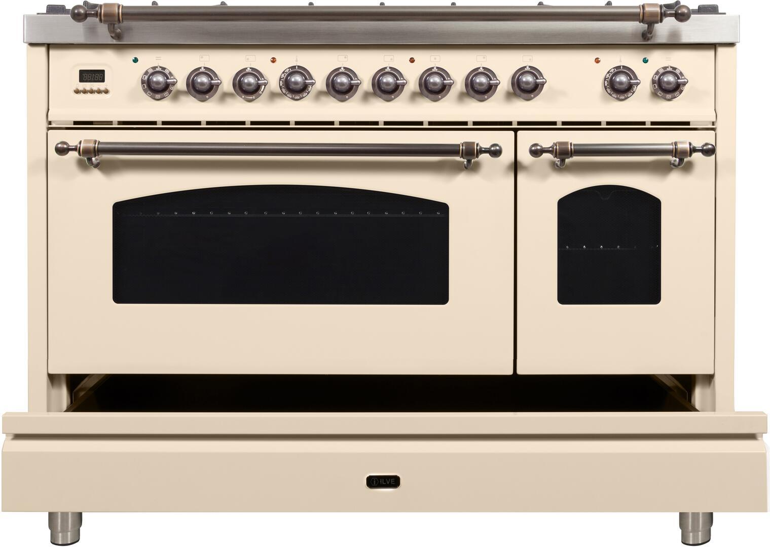 Ilve Nostalgie UPN120FDMPAY Freestanding Dual Fuel Range Bisque, ilve UPN120FDMPAY range open storage