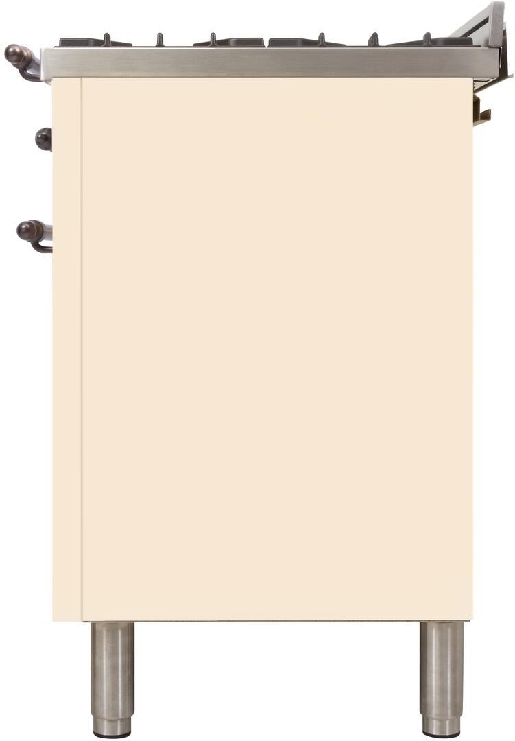 Ilve Nostalgie UPN120FDMPAY Freestanding Dual Fuel Range Bisque, ilve UPN120FDMPAY range side1