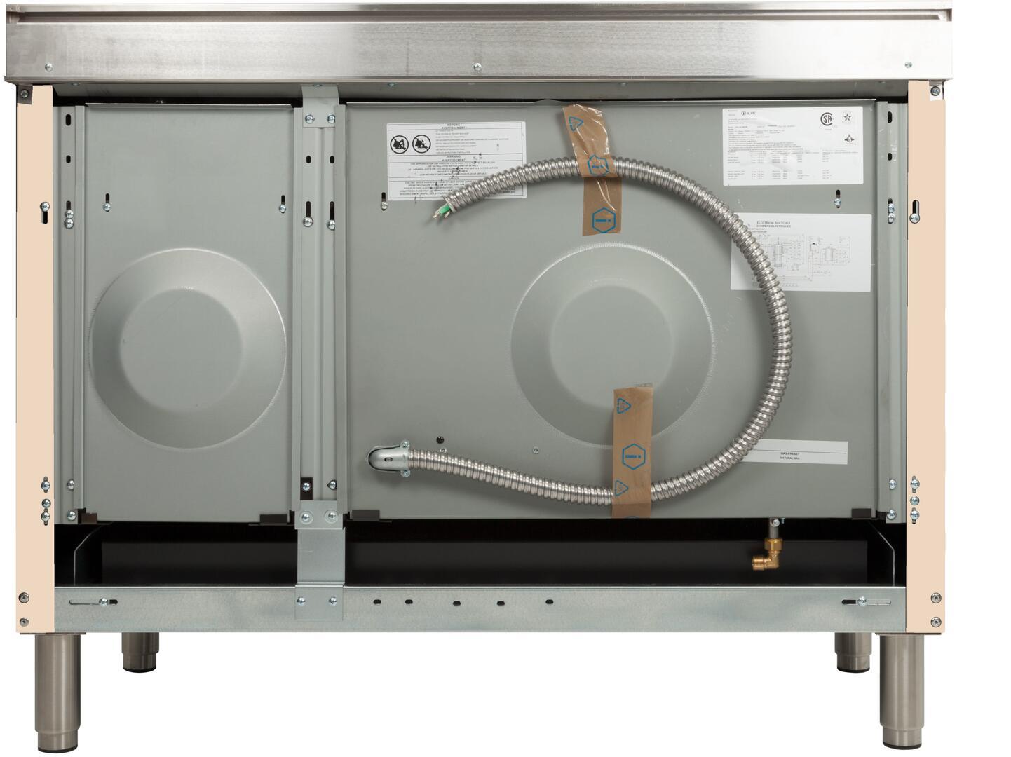 Ilve Nostalgie UPN120FDMPAY Freestanding Dual Fuel Range Bisque, ilve UPN120FDMPAY range back
