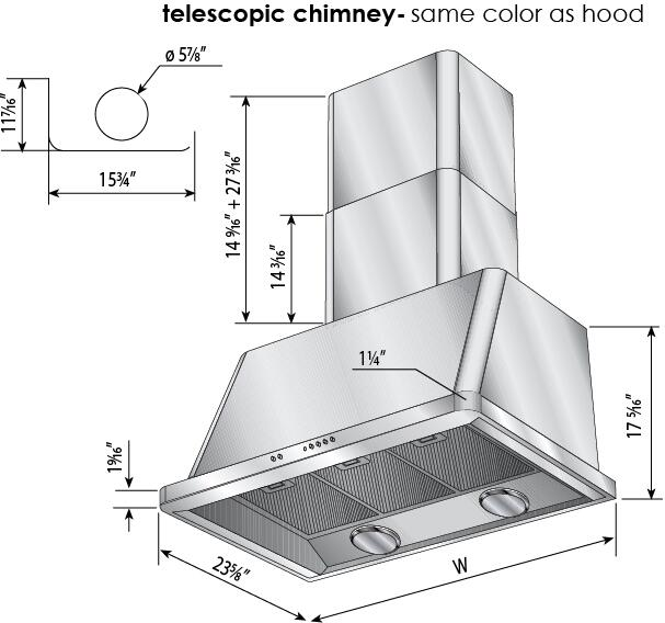 Ilve Majestic UAM120I Wall Mount Range Hood Stainless Steel, Dimensions Diagram