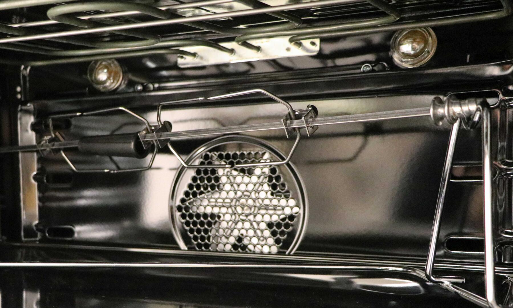 Ilve Nostalgie UPDN100FDMPNLP Freestanding Dual Fuel Range Black, Main Oven Rotisserie