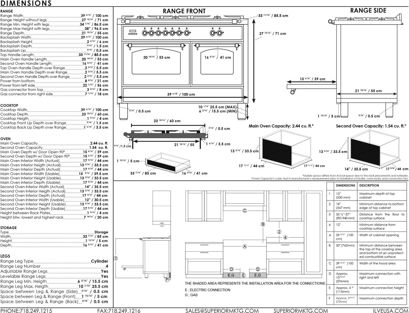Ilve Nostalgie UPDN100FDMPNLP Freestanding Dual Fuel Range Black, UPDN100FDM Dimensions Guide