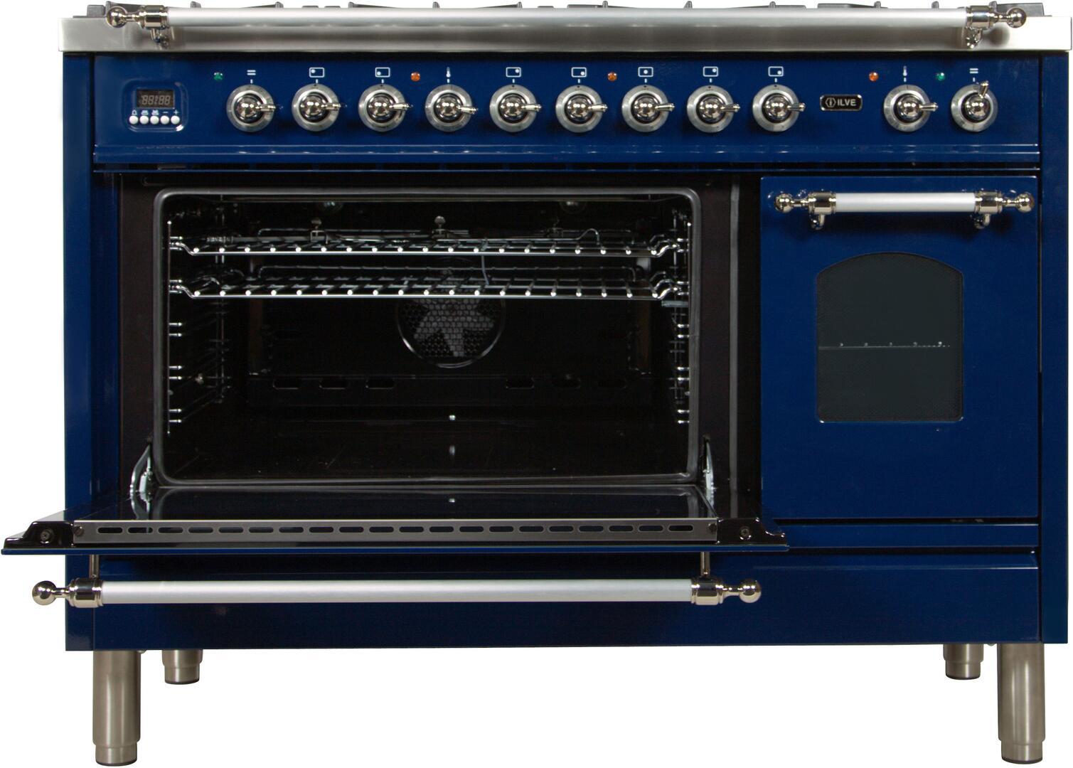 Ilve Nostalgie UPN120FDMPBLX Freestanding Dual Fuel Range Blue, UPN120FDMPBLX Main Oven Door Opened
