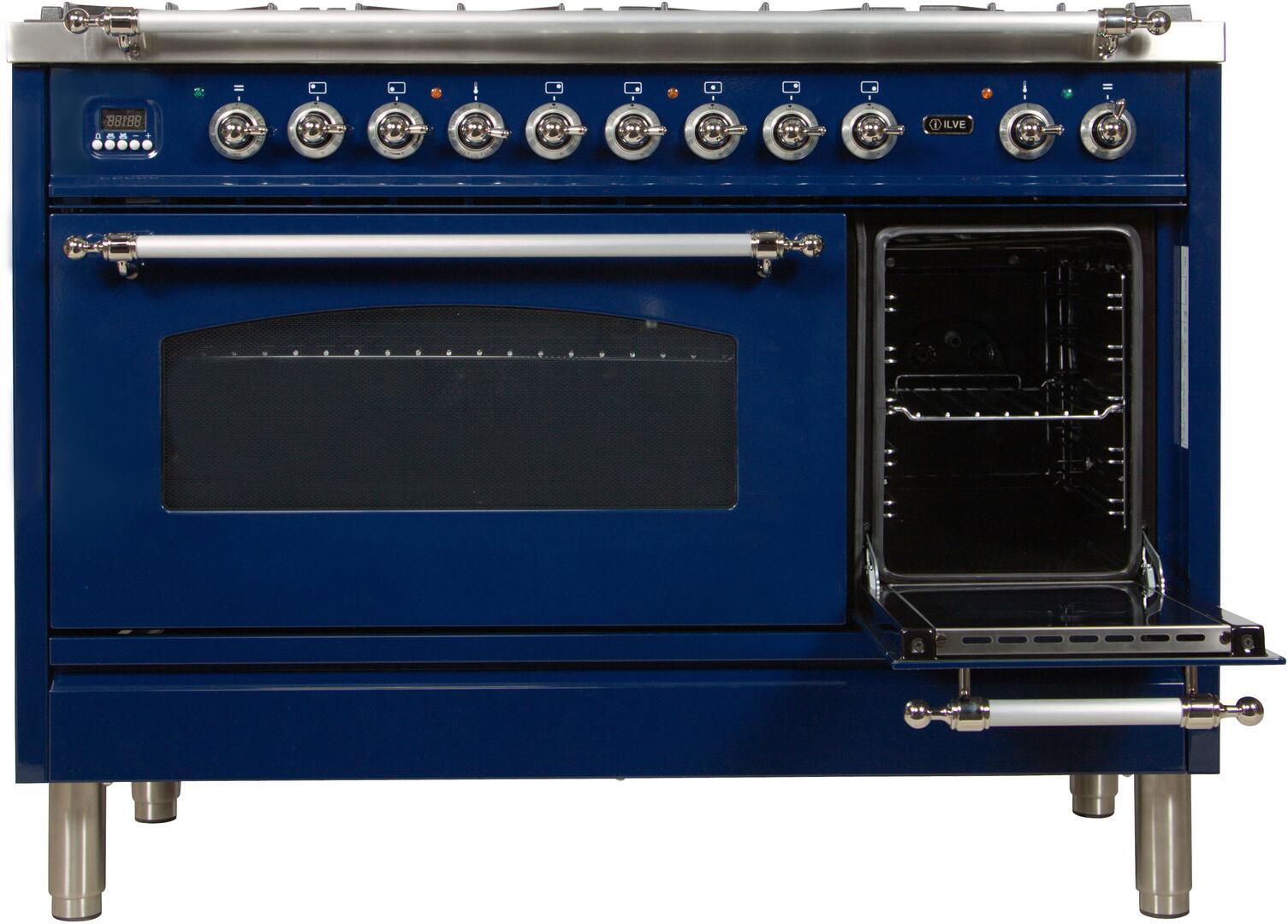 Ilve Nostalgie UPN120FDMPBLX Freestanding Dual Fuel Range Blue, UPN120FDMPBLX Secondary Oven Door Opened