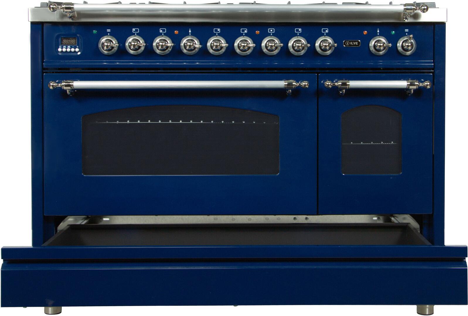 Ilve Nostalgie UPN120FDMPBLX Freestanding Dual Fuel Range Blue, UPN120FDMPBLX Dishwarming Drawer