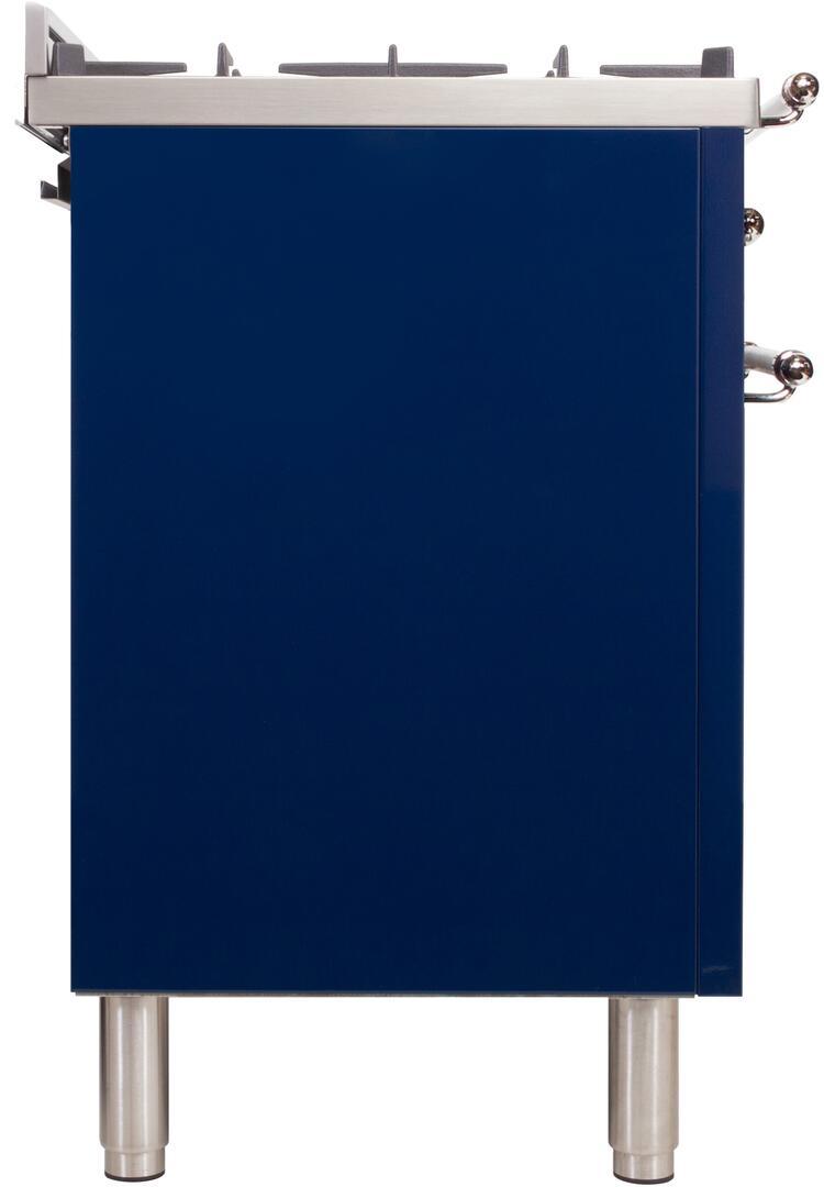 Ilve Nostalgie UPN120FDMPBLX Freestanding Dual Fuel Range Blue, UPN120FDMPBLX  Side View