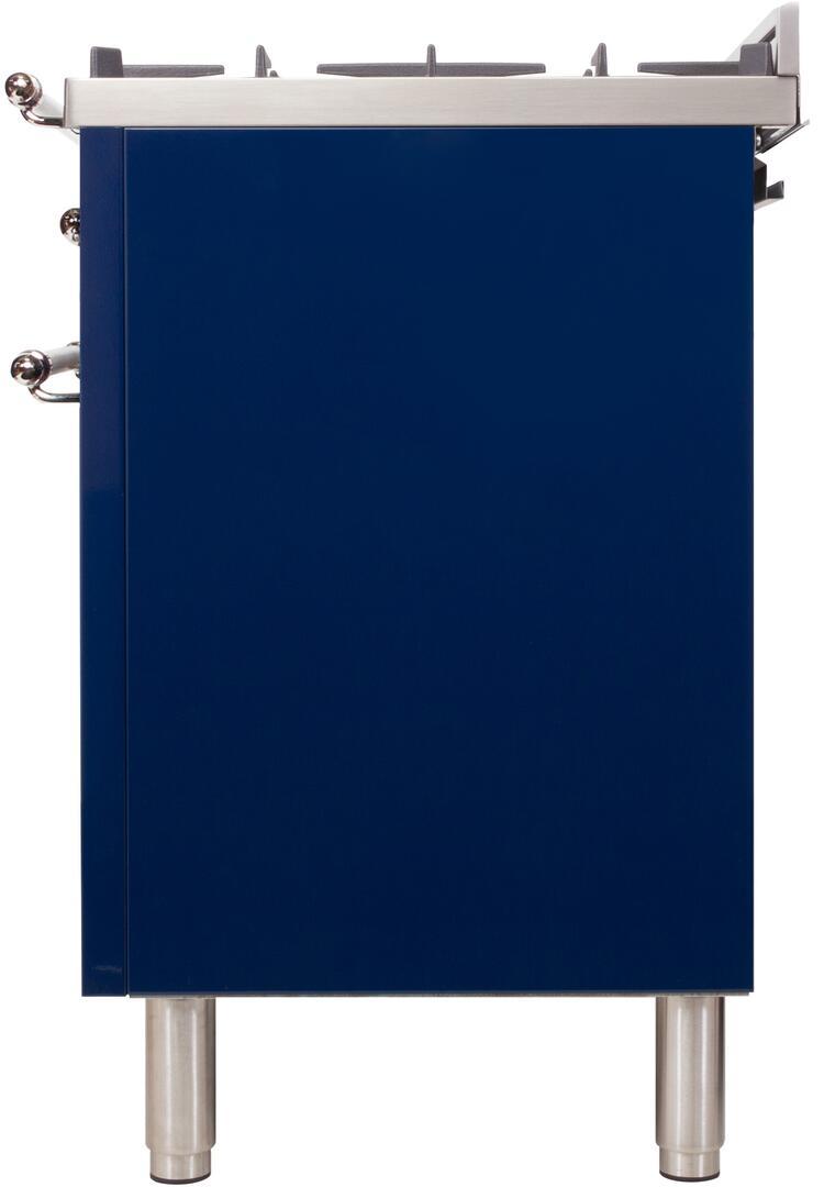 Ilve Nostalgie UPN120FDMPBLX Freestanding Dual Fuel Range Blue, UPN120FDMPBLX Side View 2