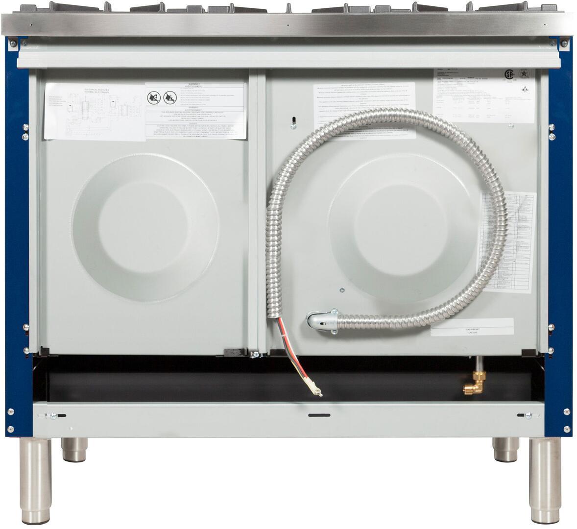 Ilve Nostalgie UPN120FDMPBLX Freestanding Dual Fuel Range Blue, UPN120FDMPBLX Back View