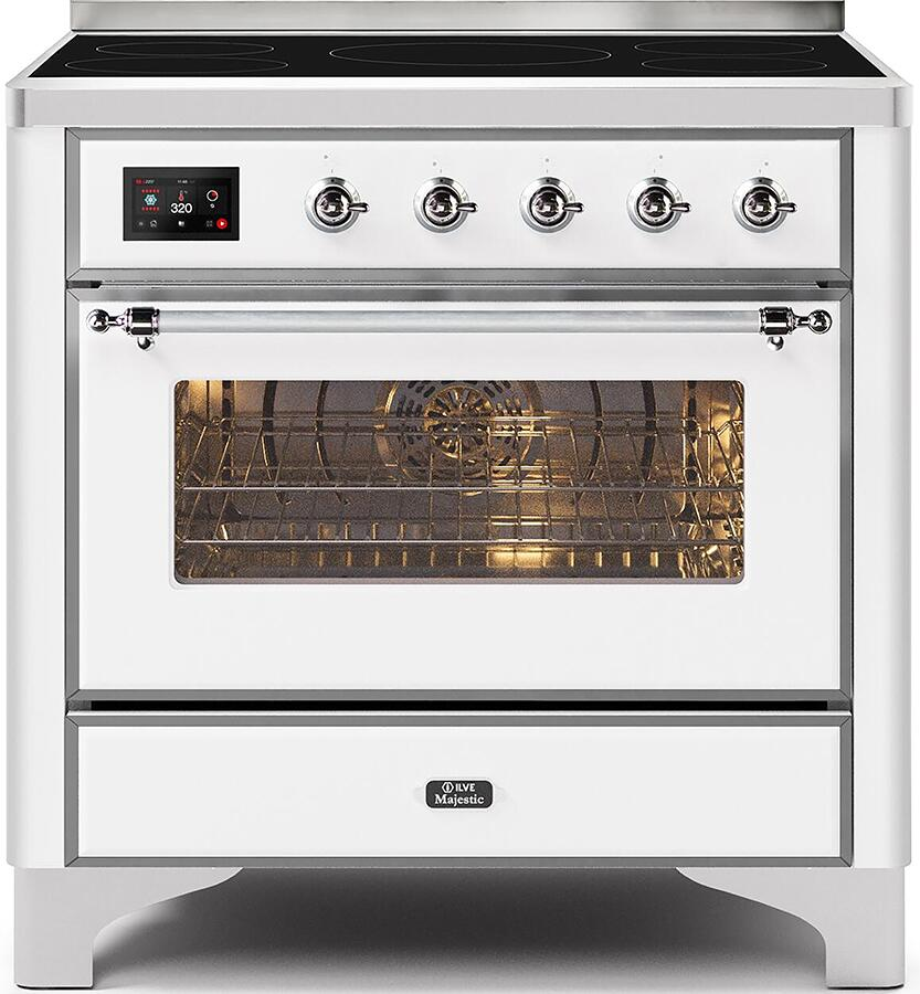 Ilve Majestic II UMI09NS3WHC Freestanding Electric Range White, UMI09NS3WHC Front CD A