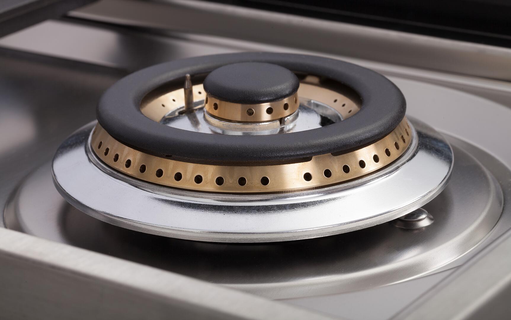Ilve Nostalgie UPN120FDMPAY Freestanding Dual Fuel Range Bisque, Triple Ring Brass Burner