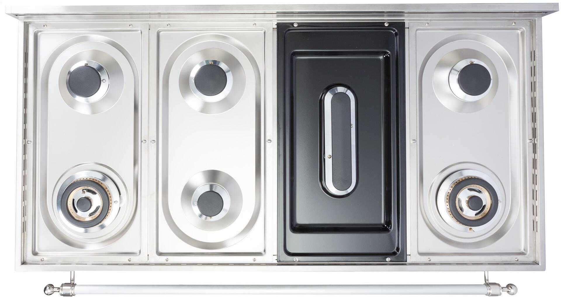 Ilve Nostalgie UPN120FDMPAY Freestanding Dual Fuel Range Bisque, Cooktop without Grates