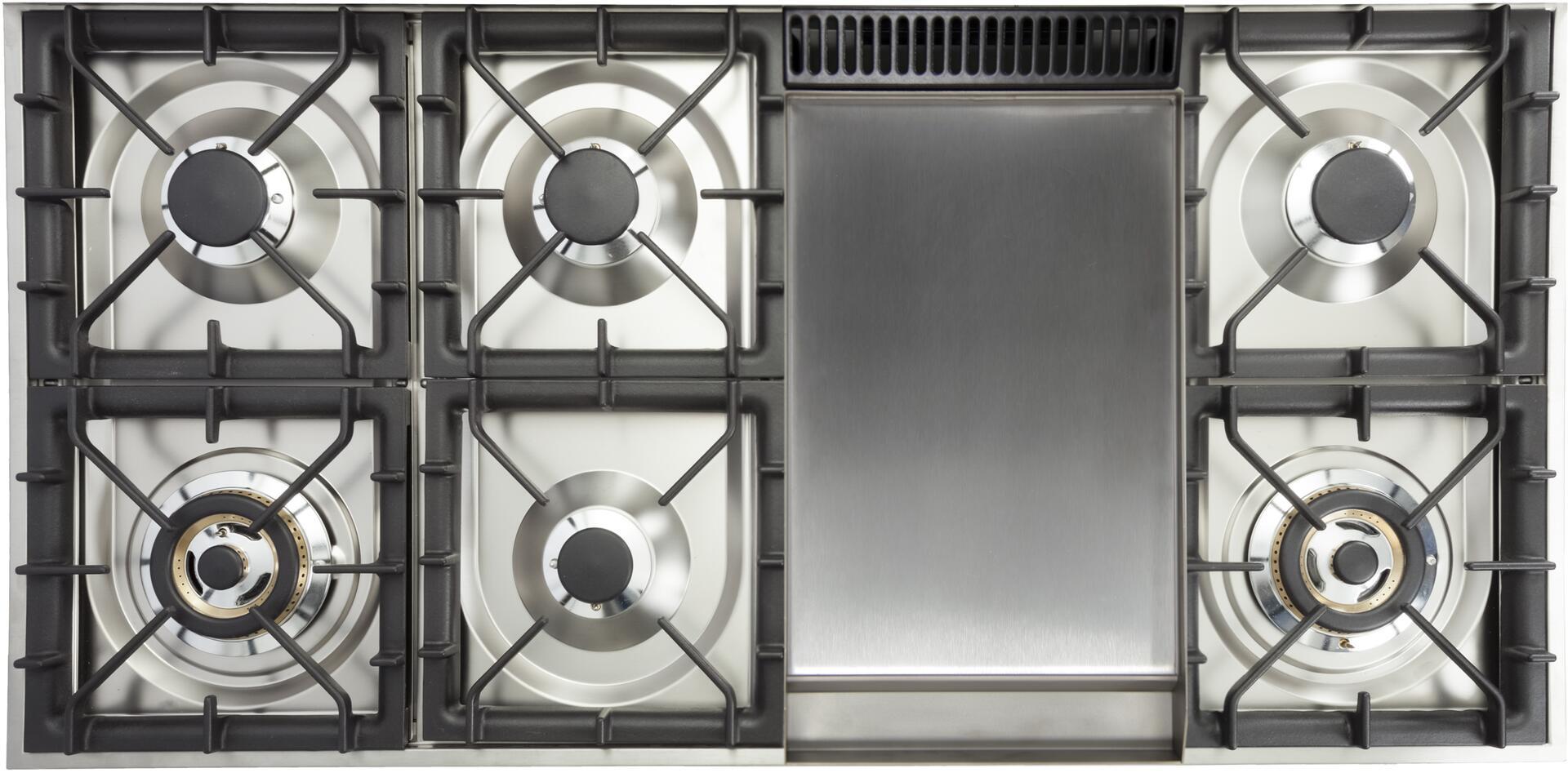 Ilve Nostalgie UPN120FDMPBXLP Freestanding Dual Fuel Range White, Cooktop