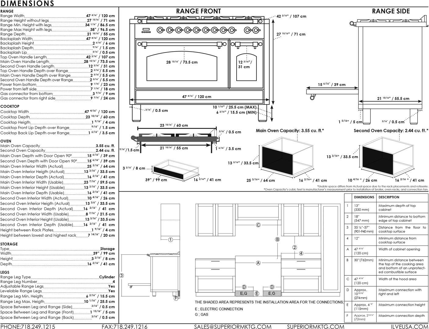 Ilve Nostalgie UPN120FDMPAY Freestanding Dual Fuel Range Bisque, UPN120FDM Dimensions Guide