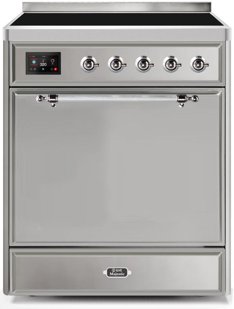 Ilve Majestic II UMI30QNE3SSC Freestanding Electric Range Stainless Steel, UMI30QNE3SSC-Front-CD-A