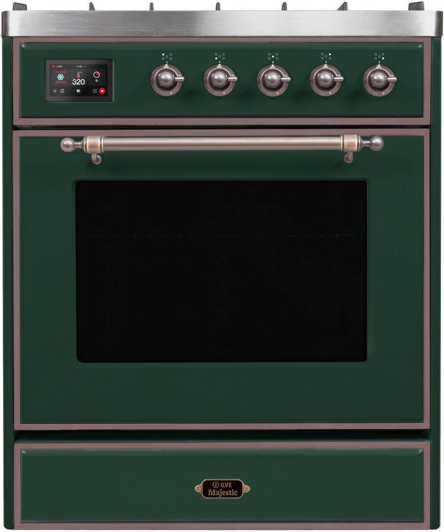 Ilve Majestic II UM30DNE3EGB Freestanding Dual Fuel Range Green, UM30DNE3EGBNG-Front-CD