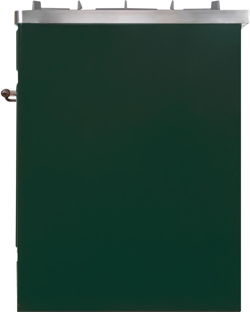 Ilve Majestic II UM30DNE3EGB Freestanding Dual Fuel Range Green, UM30DNE3EGBNG-Right-CD