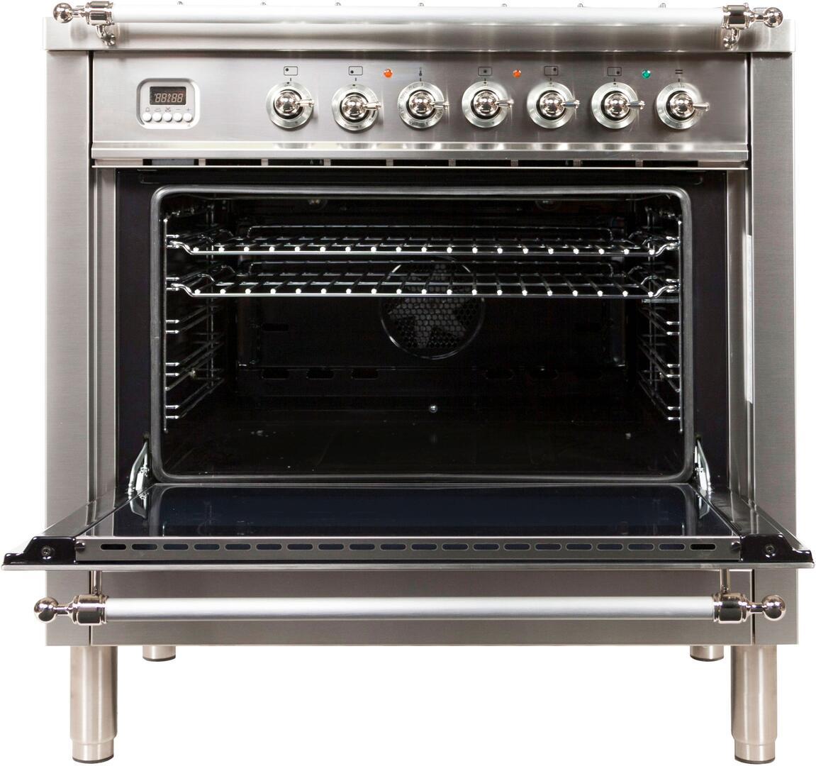 Ilve Nostalgie UPN90FDMPIX Freestanding Dual Fuel Range Stainless Steel, UPN90FDMPIX Oven Door Opened