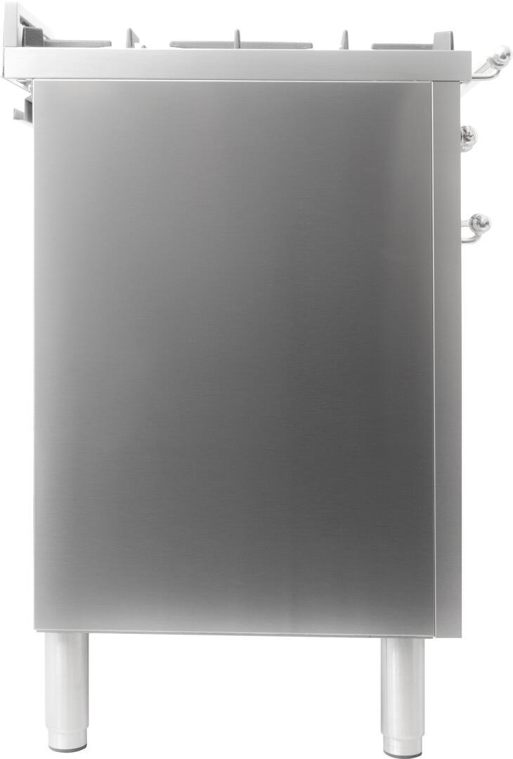 Ilve Nostalgie UPN90FDMPIX Freestanding Dual Fuel Range Stainless Steel, UPN90FDMPIX Side View