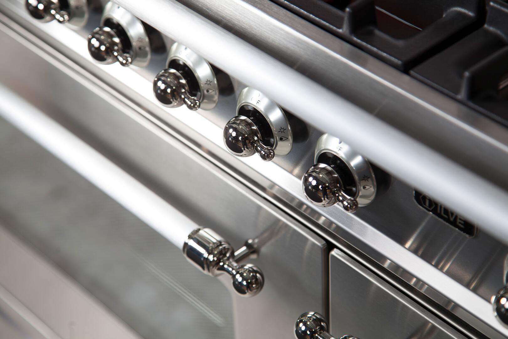 Ilve Nostalgie UPN90FDMPIX Freestanding Dual Fuel Range Stainless Steel, UPN90FDMPIX Details 2