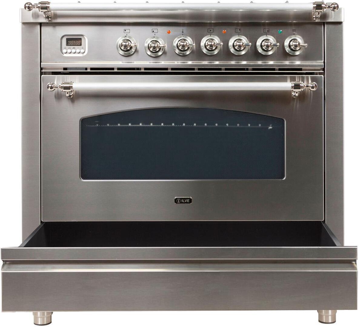 Ilve Nostalgie UPN90FDMPIX Freestanding Dual Fuel Range Stainless Steel, UPN90FDMPIX Dishwarming Drawer