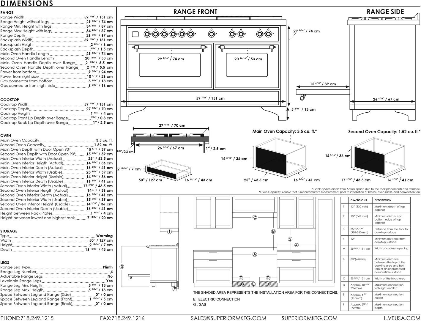 Ilve Majestic II UM15FDNS3BGC Freestanding Dual Fuel Range , UM15F-Dimensions
