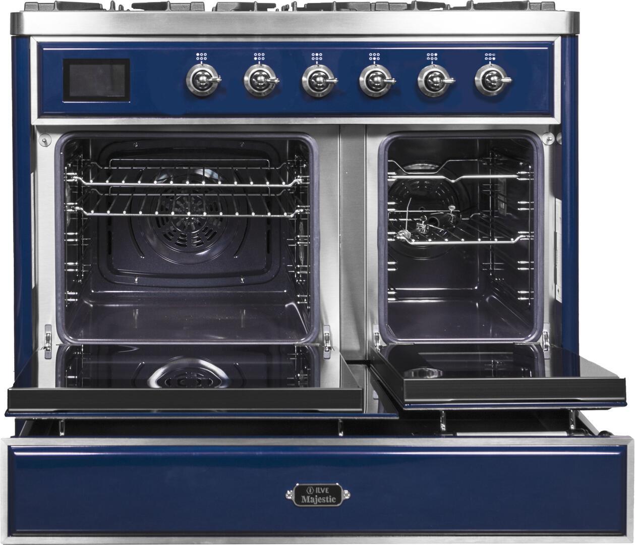 Ilve Majestic II UMD10FDNS3MBC Freestanding Dual Fuel Range Blue, UMD10FDNS3MBC Oven Doors Opened
