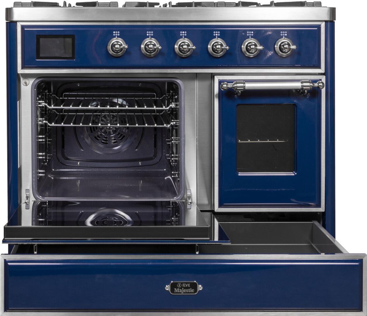 Ilve Majestic II UMD10FDNS3MBC Freestanding Dual Fuel Range Blue, UMD10FDNS3MBC Main Oven Door Opened