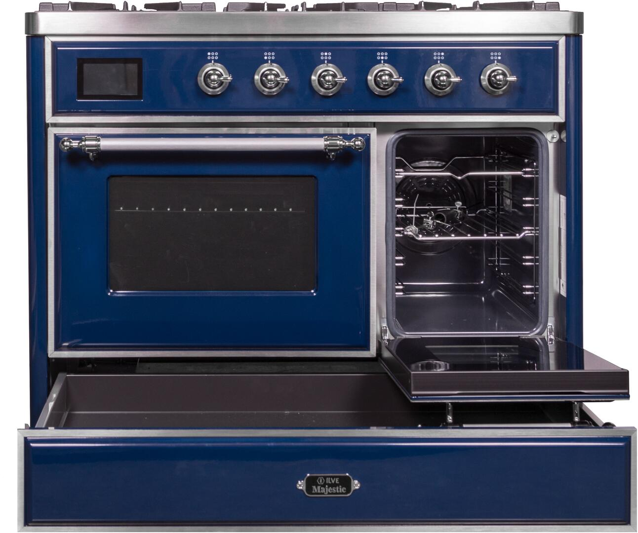 Ilve Majestic II UMD10FDNS3MBC Freestanding Dual Fuel Range Blue, UMD10FDNS3MBC Side Oven Door Opened