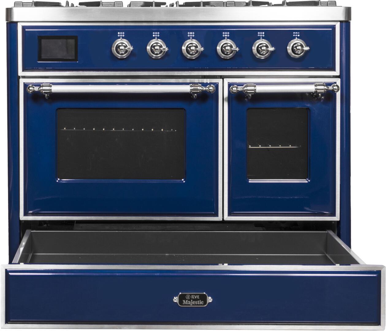 Ilve Majestic II UMD10FDNS3MBC Freestanding Dual Fuel Range Blue, UMD10FDNS3MBC Warming Drawer Opened