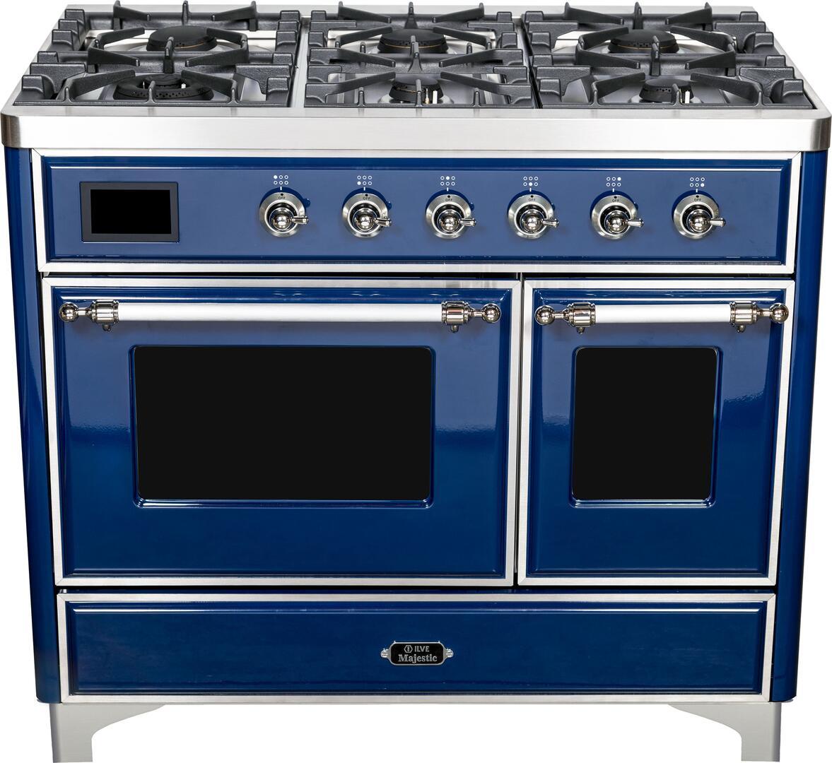 Ilve Majestic II UMD10FDNS3MBC Freestanding Dual Fuel Range Blue, UMD10FDNS3MBC Majestic II Dual Fuel Range