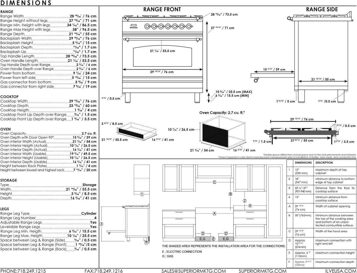 Ilve Professional Plus UPW76DVGGB Freestanding Gas Range , UPW76DV Dimensions Guide
